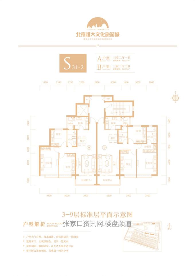 花园洋房 S31-2户型 123-143㎡(建筑面积)