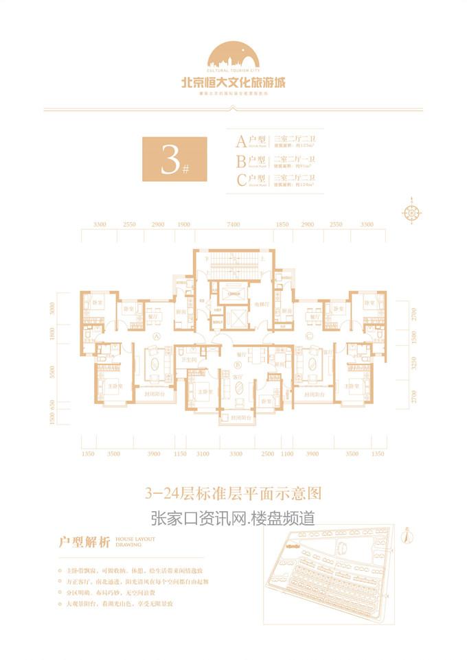 高层 3# A/B/C户型 91-125㎡(建筑面积)