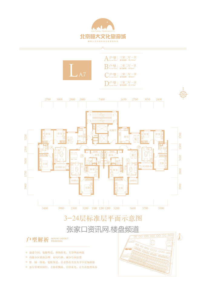 高层 LA7# A/B/C/D户型 96-108㎡(建筑面积)