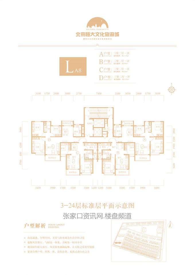 高层 LA8# A/B/C/D户型 84-118㎡(建筑面积)