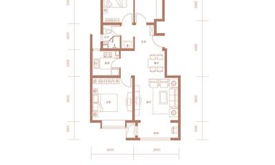 C2户型 98㎡ 三室两厅一卫