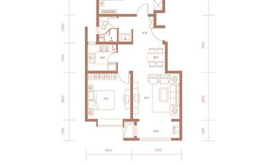 C3户型 93㎡ 两室两厅一卫