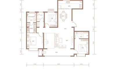 A户型 145㎡ 三室两厅三卫